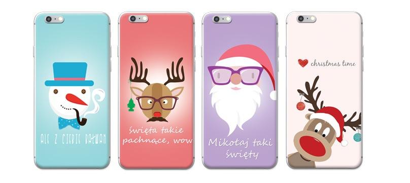 świąteczne wzory na pokrowcach do telefonów