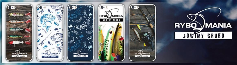 etui na telefon z rybami i akcesoriami wędkarskimi